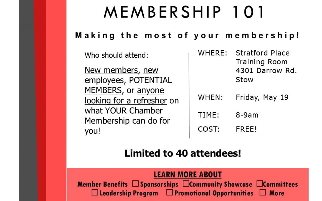 You're Invited to Membership 101- Must RSVP